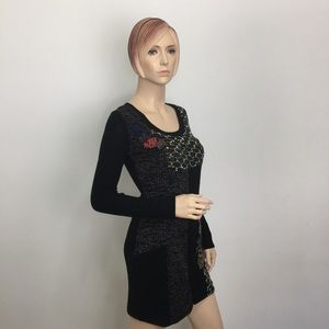 Kessley Black Embroidered Sweater Dress Small
